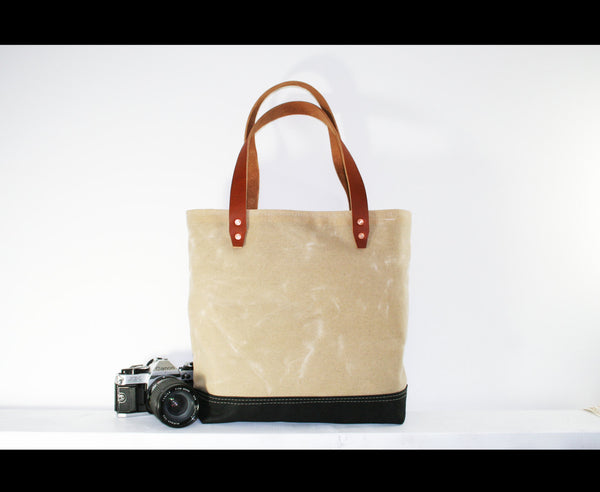 waxed heavy canvas tote bag - made in USA - UTILITY TOTE