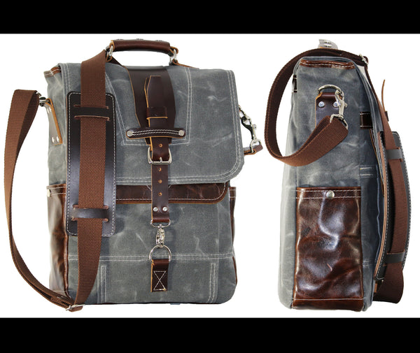 WAXED CANVAS VERTICAL LAPTOP BAG #010045
