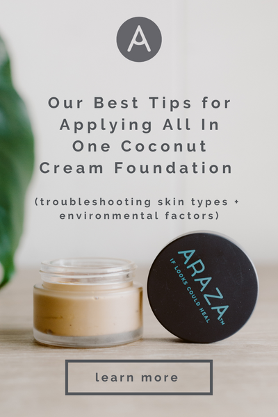 Our Best Tips for Applying All In One Coconut Cream Foundation (troubleshooting skin types + environmental factors)  paleo makeup foundation health non-toxic clean safer beauty gluten free cruelty acne prone aging organic natural
