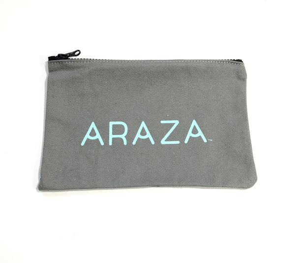 Gray Canvas Makeup Bag