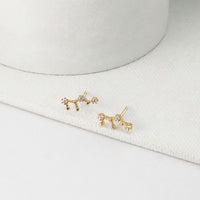 Virgo Zodiac Gold Earrings - Wanderlust + Co