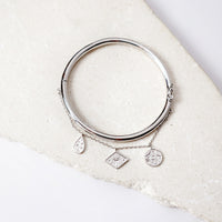 Galaxy Charms Silver Bangle - Wanderlust + Co