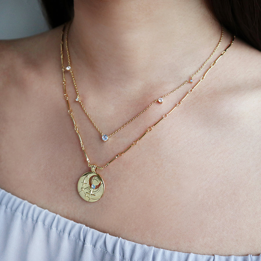 March Birthstone Gold Necklace