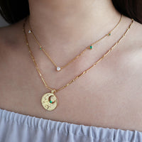 May Birthstone Gold Necklace - Wanderlust + Co