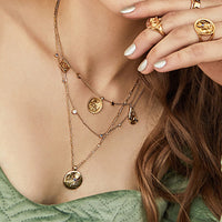 Aleya Gold Multi Charms Necklace - Wanderlust + Co
