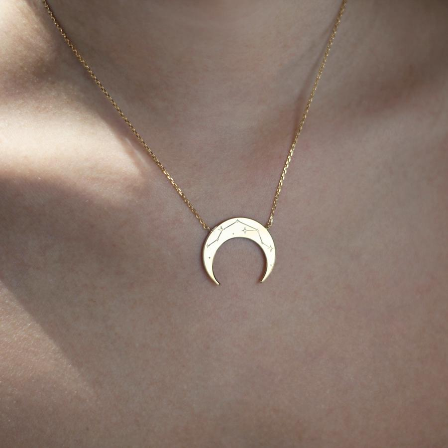 Crescent Aquarius Zodiac Gold Necklace