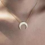 Crescent Aries Zodiac Gold Necklace