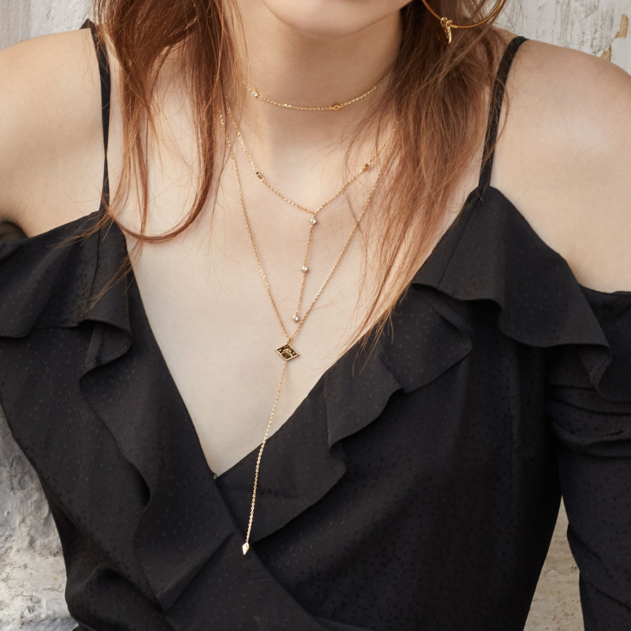 Arya Lariat Gold Necklace