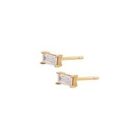Baguette Topaz  Gold Sterling Silver Earrings