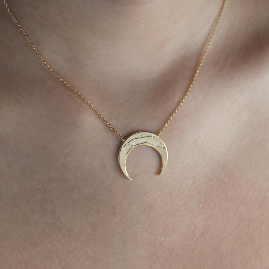 Crescent Capricorn Zodiac Gold Necklace