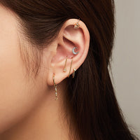 Crescent Diamante Silver Flat Back Earring