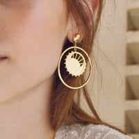 Dawning of a New Day Hoop Gold Earrings