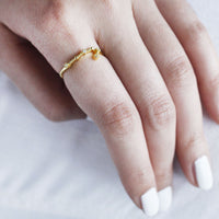 Gemini Zodiac Gold Ring