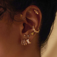 Triple Pave Gold Huggie Earrings