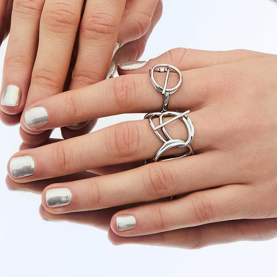 Multi Helix Silver Ring