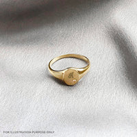 Petite Stardust Gold Sterling Silver Signet Ring