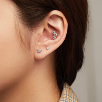 Starry Silver Fan Flat Back Earring