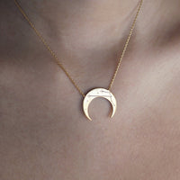 Crescent Taurus Zodiac Gold Necklace - Wanderlust + Co