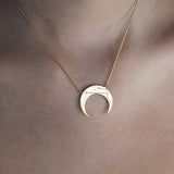 Crescent Taurus Zodiac Gold Necklace