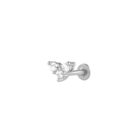 V Diamante Silver Flat Back Earring