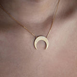 Crescent Virgo Zodiac Gold Necklace