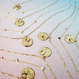 August Birthstone Gold Necklace
