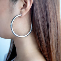Faye XL Silver Hoop Earrings - Wanderlust + Co