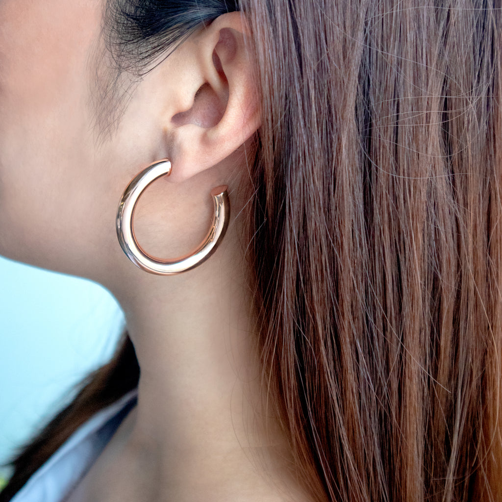 Faye Midi Rose Gold Hoop Earrings