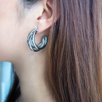 Faye Silver Tri-Hoop Earrings
