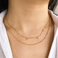 Gold Sterling Silver Space Letter Necklace With Classic Box Chain