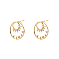 Moon Phase Hoop Jacket Gold Earrings