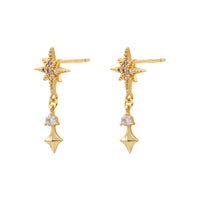 Midnight Stud Gold Earrings