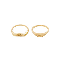 Sun & Moon Gold Ring Set