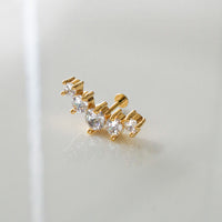 Constellation Bar Diamante Flat Back Gold Earring