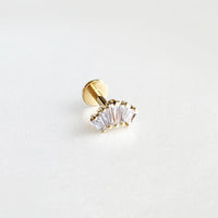 Crown Diamante Gold Flat Back Earring