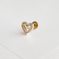 Heart Diamante Gold Flat Back Earring