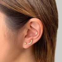 Curve Diamante Gold Flat Back Earring