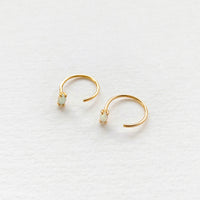 Opal Hoop Gold Threader Earrings
