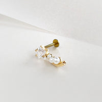 Shooting Star Pearl Gold Flat Back Earring