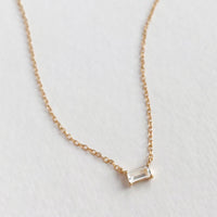 Baguette Topaz Gold Sterling Silver Necklace