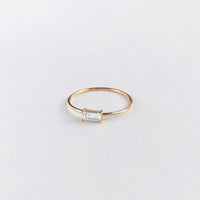Baguette Topaz Gold Sterling Silver Ring