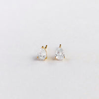 Pear Topaz Gold Sterling Silver Earrings