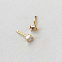 Baguette Petite Topaz  Gold Sterling Silver Earrings
