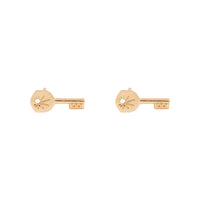 Crescent Key Baby Stud Gold Earrings