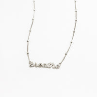 Sterling Silver Nameplate Necklace With Beaded Chain - Wanderlust + Co