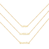 Gold Sterling Silver Nameplate Necklace With Beaded Chain - Wanderlust + Co