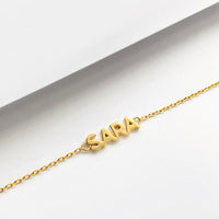 Solid Yellow Gold Nameplate Bracelet With Standard Chain - Wanderlust + Co