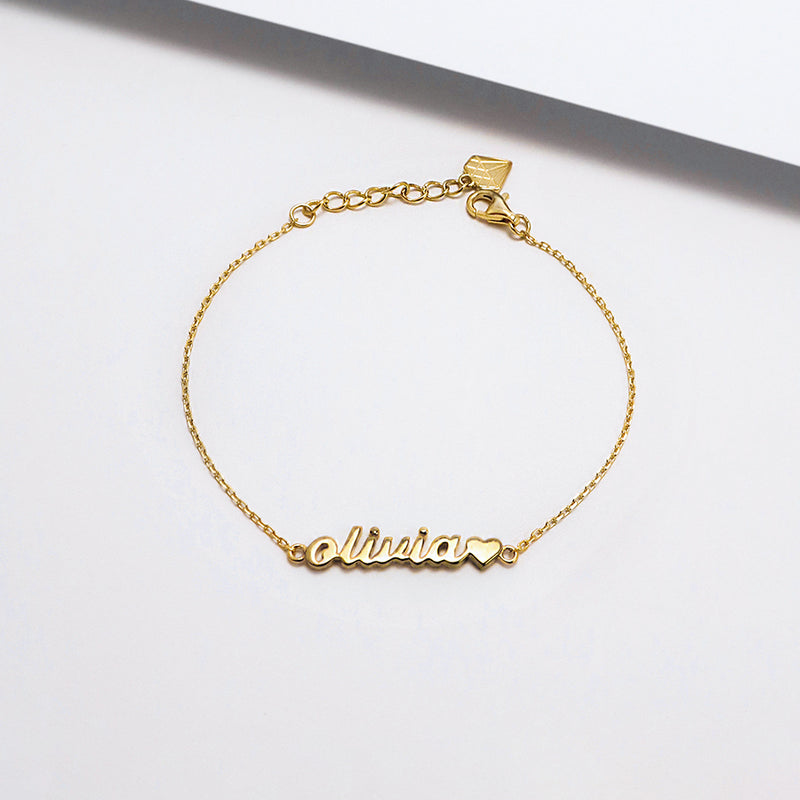 Solid Yellow Gold Nameplate Kids Bracelet With Standard Chain – Wanderlust  + Co