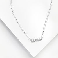 Sterling Silver Nameplate Necklace With Chain Link