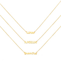 Gold Sterling Silver Nameplate Necklace With Classic Box Chain - Wanderlust + Co